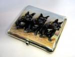 ANTIQUE GERMAN SILVER & ENAMEL DOG CIGARETTE CASE c. 1910