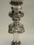 PAIR SILVER GEORGIAN DELAMERIE STYLE CANDLESTICKS / CANDLE HOLDERS LONDON 1966