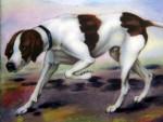 VINTAGE GERMAN ALPACCA METAL & ENAMEL CIGARETTE CASE c. 1920 POINTER HUNTING DOG