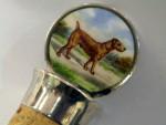 ANTIQUE SILVER & ENAMEL BOTTLE STOPPER CHESTER 1907 SAMPSON MORDAN TERRIER DOG