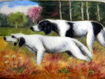 GERMAN ALPACCA WHITE METAL & ENAMEL CIGARETTE CASE c 1920 HUNTING DOGS