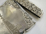 ANTIQUE VICTORIAN SILVER CARD CASE ENGRAVED BIRM. 1850 NATHANIEL MILLS