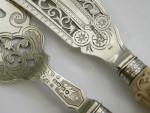 VICTORIAN SILVER & IVORY HANDLED FISH SERVING SET (KNIFE / FORK) EXETER 1881