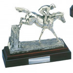 Large Silver Model of a Horse Jumping Over The Sticks Trophy Prize