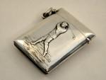 ANTIQUE VICTORIAN SILVER GOLF VESTA CASE / MATCH HOLDER BIRM. 1900 GOLFING