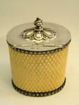 ANTIQUE VICTORIAN SILVER PLATE & IVORY TEA CADDY SHEFFIELD c. 1880