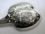 VICTORIAN SILVER PLATED DESSERT SERVING SET / NUT / CUTLERY / SPOONS c. 1900