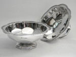 PAIR ANTIQUE SOLID SILVER DISHES / BOWLS BIRM. 1909