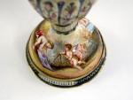 ANTIQUE AUSTRIAN SILVER & VIENNESE ENAMEL VASE / LIDDED URN c. 1880