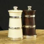 Set of Silver Salt & Pepper Grinder Mills (Wood & Ivorine)