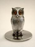 4 SILVER OWL BIRD MENU HOLDERS / PLACE CARD HOLDERS LONDON 1928 SAMPSON MORDAN