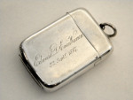 VICTORIAN SILVER & ENAMEL CIGARETTE & VESTA CASE SET LONDON 1886/7 PUNCH & TOBY
