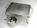VINTAGE SILVER PLATED HOT PLATE / PLATE STAND  & BURNER c. 1930