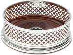 Sterling Silver Wine Bottle Coaster - Basket Weave (5 Inch)