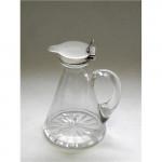 VINTAGE SOLID SILVER & GLASS WHISKY NOGGIN / WHISKEY JUG LONDON 1921