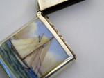 ANTIQUE VICTORIAN SOLID SILVER & ENAMEL VESTA CASE BIRM 1896 SAIL BOAT TALL SHIP