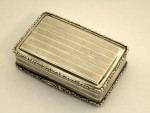 VICTORIAN SILVER CASTLE TOPPED BOX BIRM. 1838 NEWSTEAD ABBEY NATHANIEL MILLS