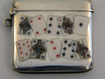 (SOLD) CONTINENTAL GERMAN SOLID SILVER VESTA CASE MATCH HOLDER c. 1920 PLAYING CARDS