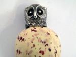 VICTORIAN SOLID SILVER & PORCELAIN OWL SCENT / PERFUME BOTTLE c. 1860