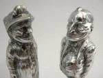 VICTORIAN SILVER PUNCH & JUDY SALT & PEPPER SHAKERS / CELLARS SHEFFIELD 1896
