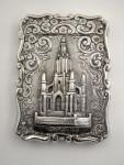 ANTIQUE VICTORIAN SILVER CASTLE TOPPED CARD CASE BIRM. 1870 SCOTT MEMORIAL