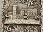 ANTIQUE VICTORIAN SILVER CASTLE TOPPED CARD CASE BIRM. 1851 OSBORNE HOUSE