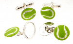 Solid Silver & Enamel Tennis Ball Cufflinks / Cuff Links