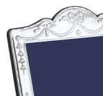 """Solid Silver Victorian Style Photo Frame 3.5 X 5"""" Swag & Bow"""