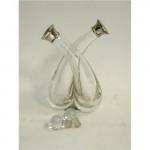 Vintage Silver & Glass Oli & Vinegar Set / Holder /  Bottles London 1926