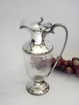 ANTIQUE SILVER & GLASS WINE / CLARET JUG SHEFFIELD 1905 UNUSUAL SIZE
