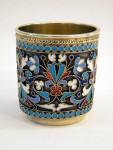 RUSSIAN SILVER & ENAMEL SHOT GLASS / CUP (VILNIUS, LITHUANIA) 1895