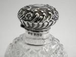 ANTIQUE SOLID SILVER & CUT GLASS PERFUME / SCENT BOTTLE BIRM. 1906