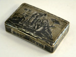 ANTIQUE RUSSIAN SILVER GILT & NIELLO ENAMEL BOX MOSCOW c. 1830