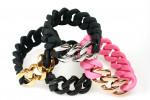 Rubber Bracelet in Black with a Matt Black Stainless Steel