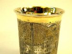 RUSSIAN SILVER GILT & NIELLO BEAKER / SHOT GLASS / TUMBLER MOSCOW 1840
