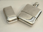 ANTIQUE SOLID SILVER HIP FLASK & FITTED CUP SHEFFIELD 1905