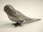 ANTIQUE SOLID SILVER BIRD BUDGERIGAR PEPPER SHAKER LONDON 1904