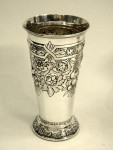 PAIR ANTIQUE SOLID SILVER VASES LONDON 1905 / 6