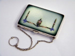 SOLID SILVER & ENAMEL CARD CASE WITH CHAIN BIRM. 1917