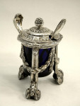 PAIR SOLID SILVER FRENCH STYLE MUSTARD POTS & SPOONS LONDON 1929