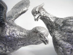 LARGE PAIR SILVER PLATED PHEASANTS / BIRDS MODEL STATUES (NEW)