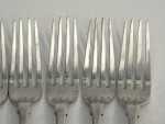 6 VICTORIAN SOLID SILVER TABLE FORKS LONDON 1846 FIDDLE PATTERN