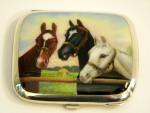 ANTIQUE GERMAN CONTINENTAL SILVER & ENAMEL CIGARETTE CASE c. 1910 HORSES