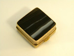 ANTIQUE AGATE & GILT METAL SQUARE BOX c. 1900 PILL BOX
