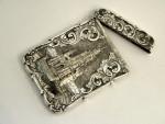 VICTORIAN SILVER CASTLE TOP CARD CASE 1852 SCOTT MEMORIAL