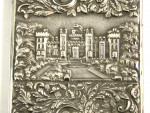 ANTIQUE WILL. IV SILVER CASTLE TOP CARD CASE BIRM. 1830 N. MILLS