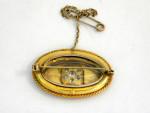 ANTIQUE VICTORIAN 15ct GOLD & dIAMOND BROOCH c. 1880