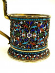 ANTIQUE RUSSIAN SILVER GILT & ENAMEL TEA CUP / GLASS HOLDER MOSCOW C. 1908