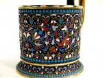 ANTIQUE RUSSIAN SILVER GILT & ENAMEL TEA CUP / GLASS HOLDER MOSCOW c. 1908 COFFEE