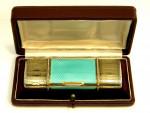 ANTIQUE CONTINENTAL SILVER, ENAMEL & DIAMOND COMPACT BOX / VANITY CASE c. 1890